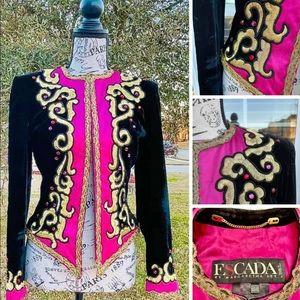 Escada Vintage Black Velvet Hot Pink Satin Jacket